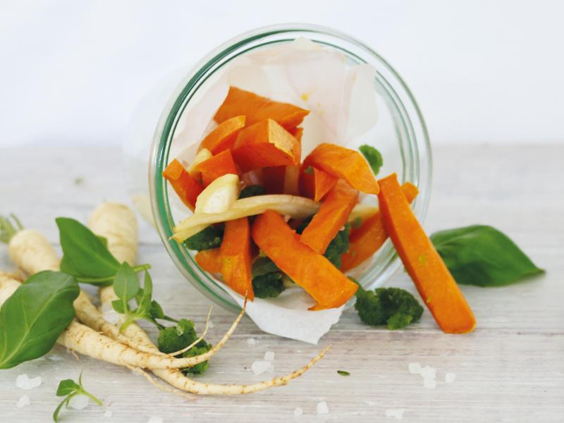 Süßkartoffel-Pastinaken Pommes (vegan)
